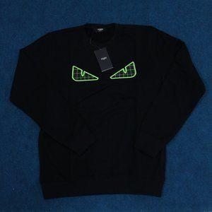 Fendi Roma Green Eyes Embroidered Black Sweatshirt